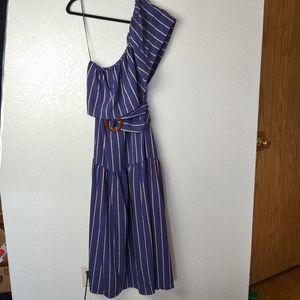 Topshop Blue Prairie Belt Waist Maxi Dress